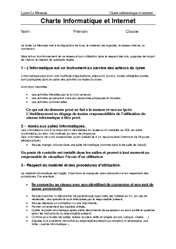 La charte des élèves 2016